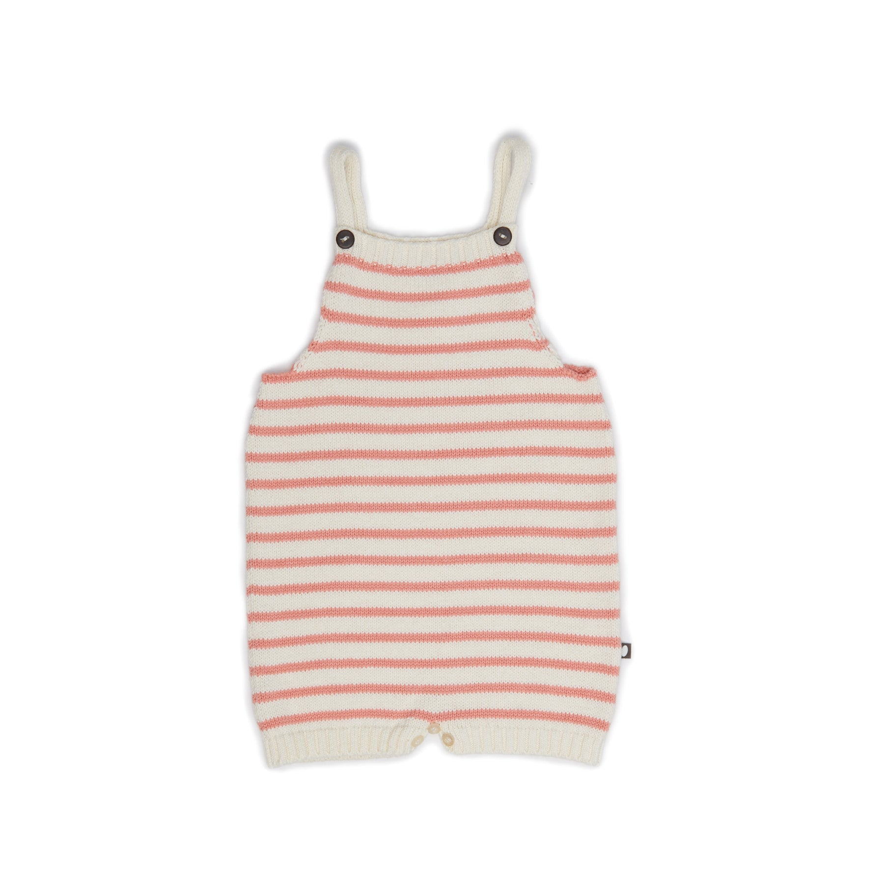 Oeuf Cream/Peach Stripes Knit Romper