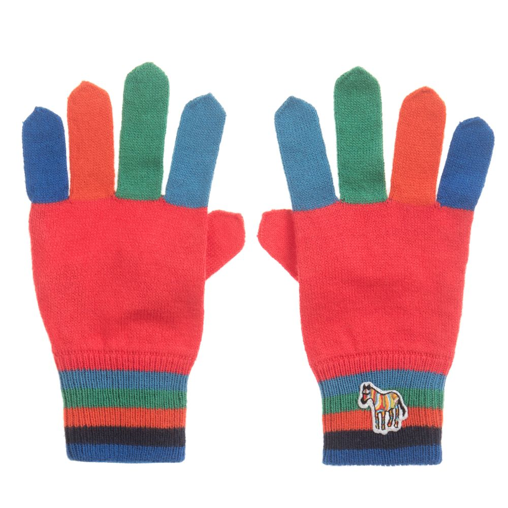 Paul Smith Junior Winter Red Colorblock Gloves