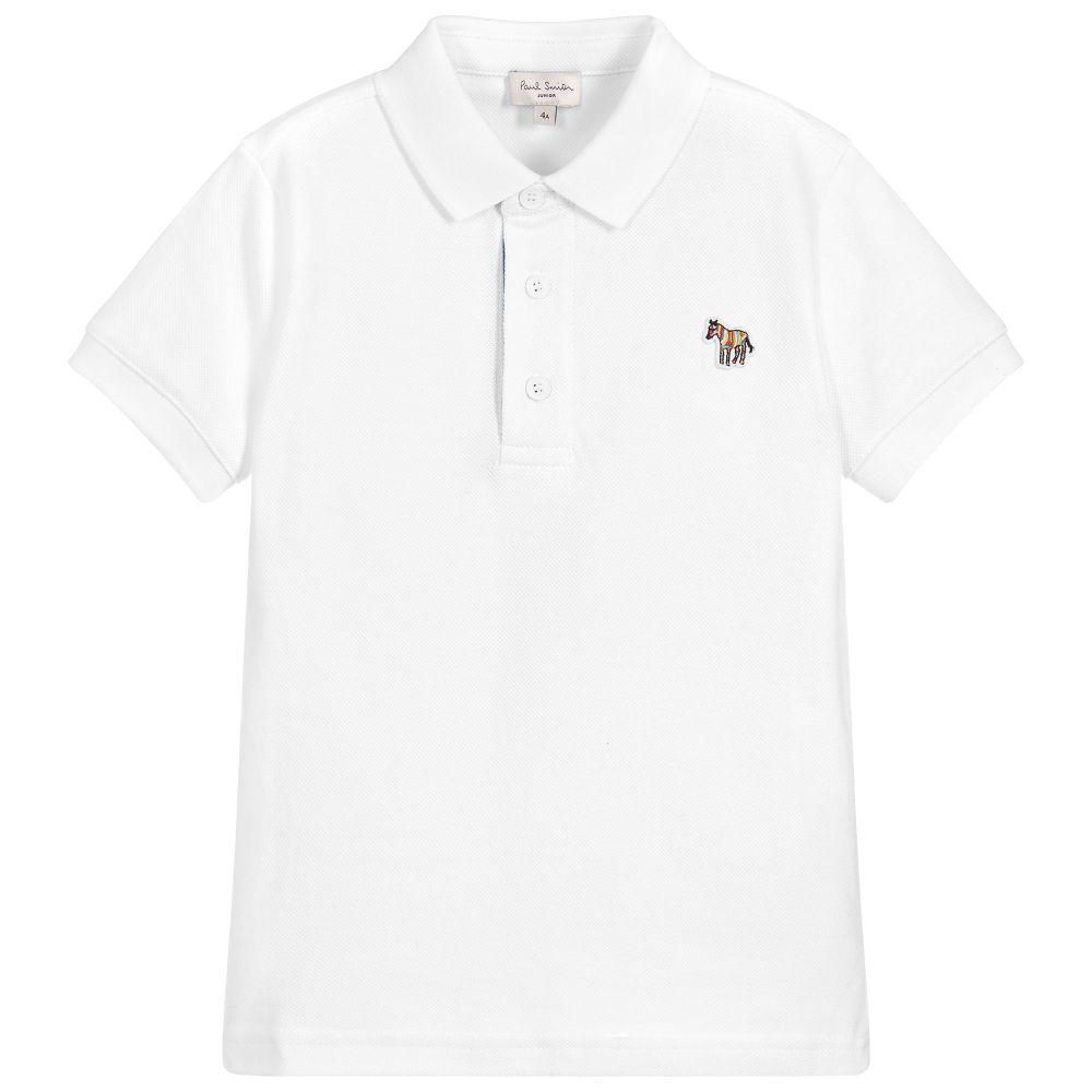 2b2aaed07 Paul Smith Junior White Zebra Logo Polo