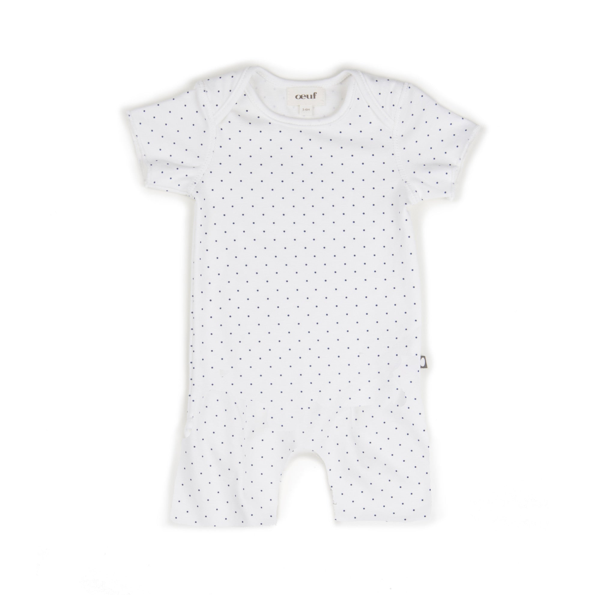 Oeuf White/Indigo Dots Short Romper - Ladida