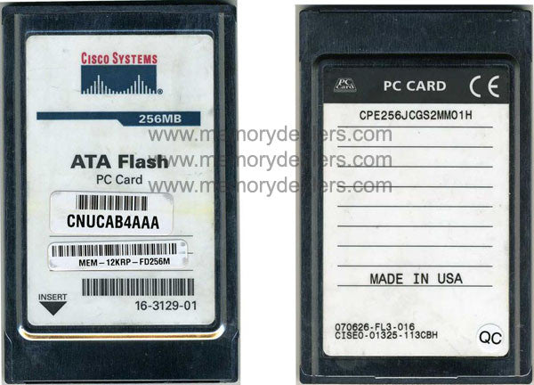 Memory 256MB ATA Flash PC Card (p/n 16-3129-01)  Transceiver Module
