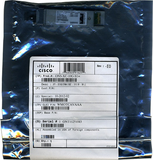 Cisco XFP Transceivers ONS-XC-10G-S1 (Cisco Original) XFP Transceiver Module