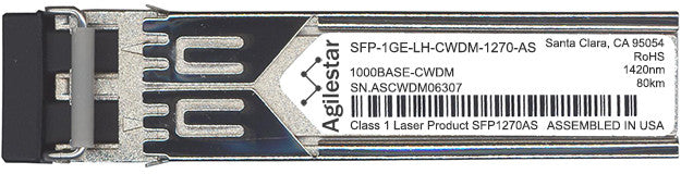 Juniper Networks SFP-1GE-LH-CWDM-1270-AS (Agilestar Original) SFP Transceiver Module