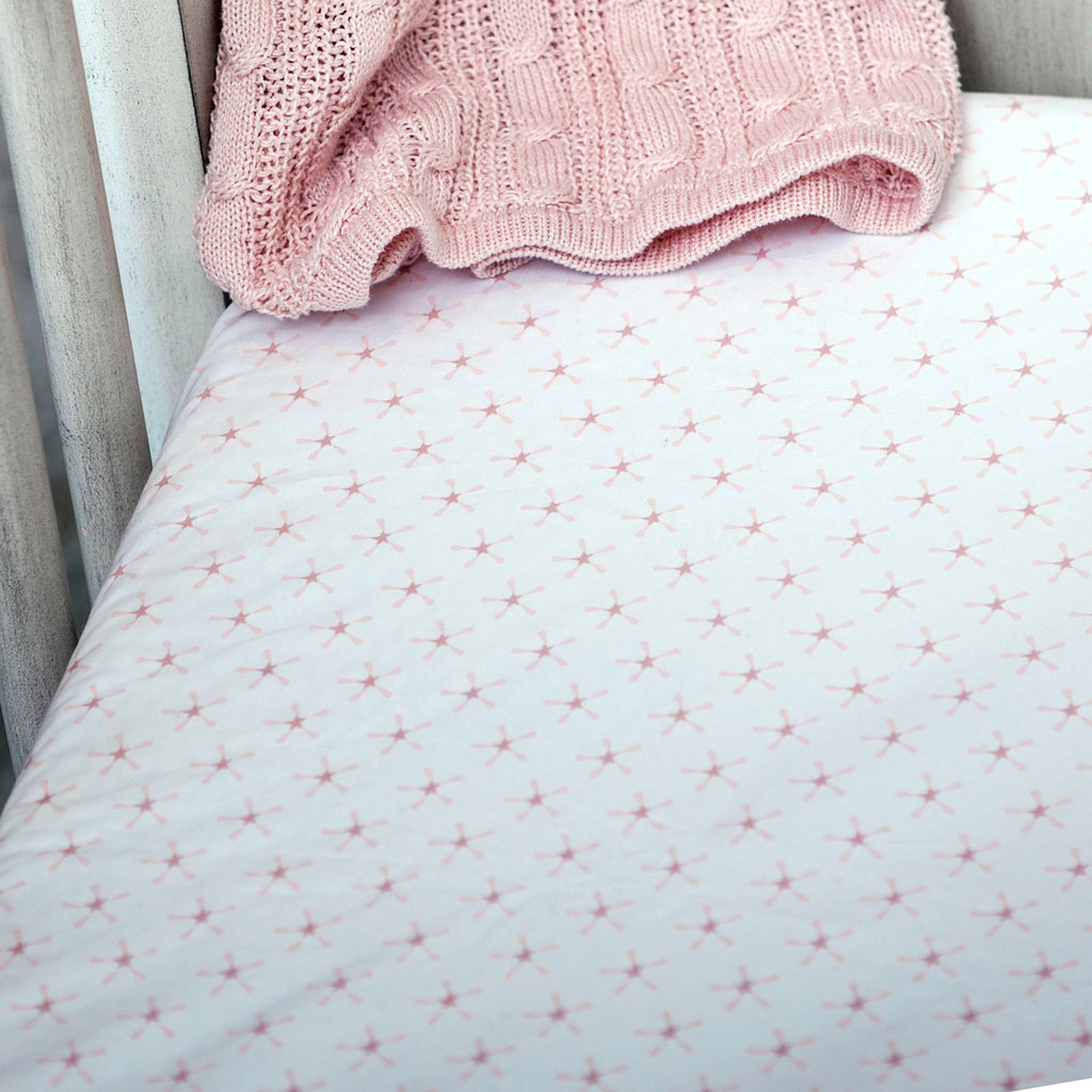Superstar Crib Fitted Sheet - Pink