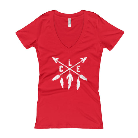 Ladies CLE Baseball V-Neck Tee Variant