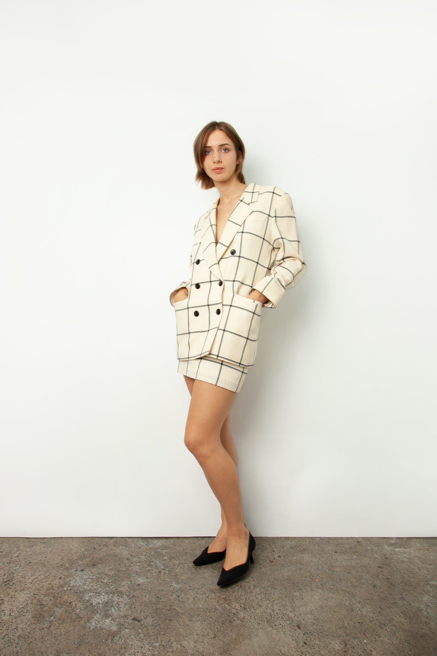 CHECK SKIRT SUIT