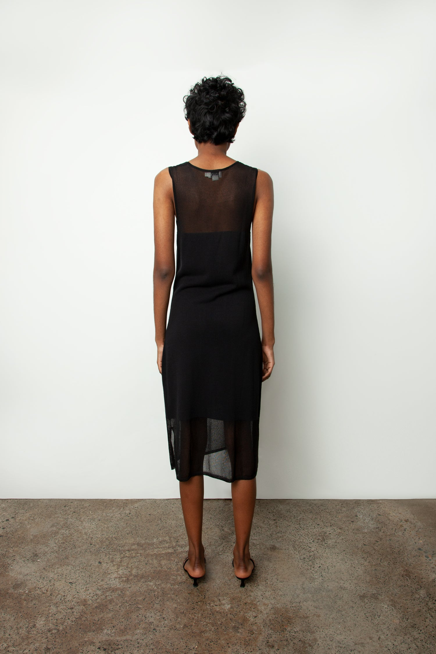 SHEER PANEL KNIT DRESS