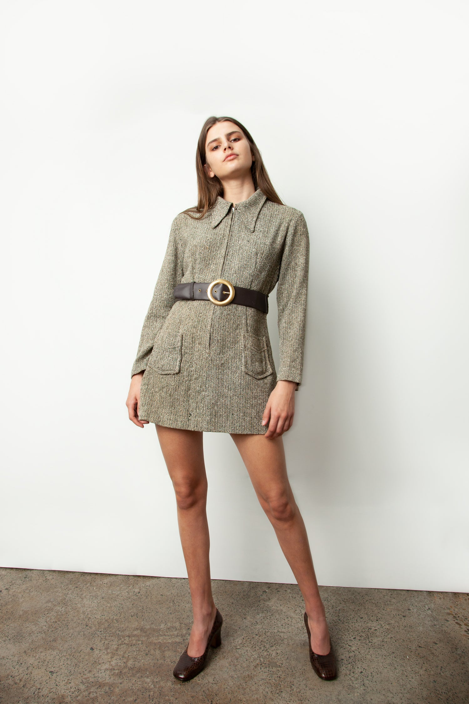 BELTED WOOL MINI