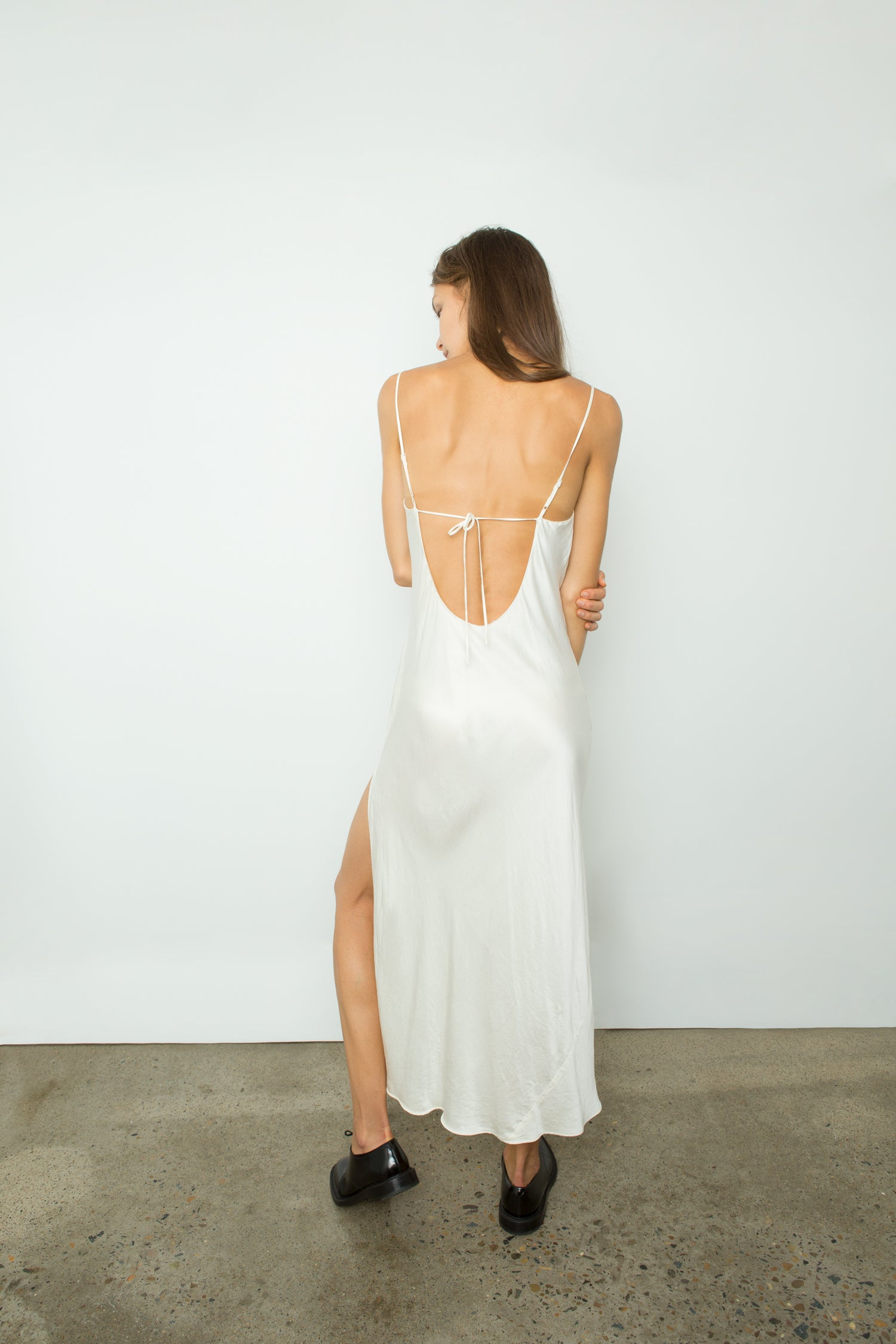 BACKLESS SILK SLIP DRESS