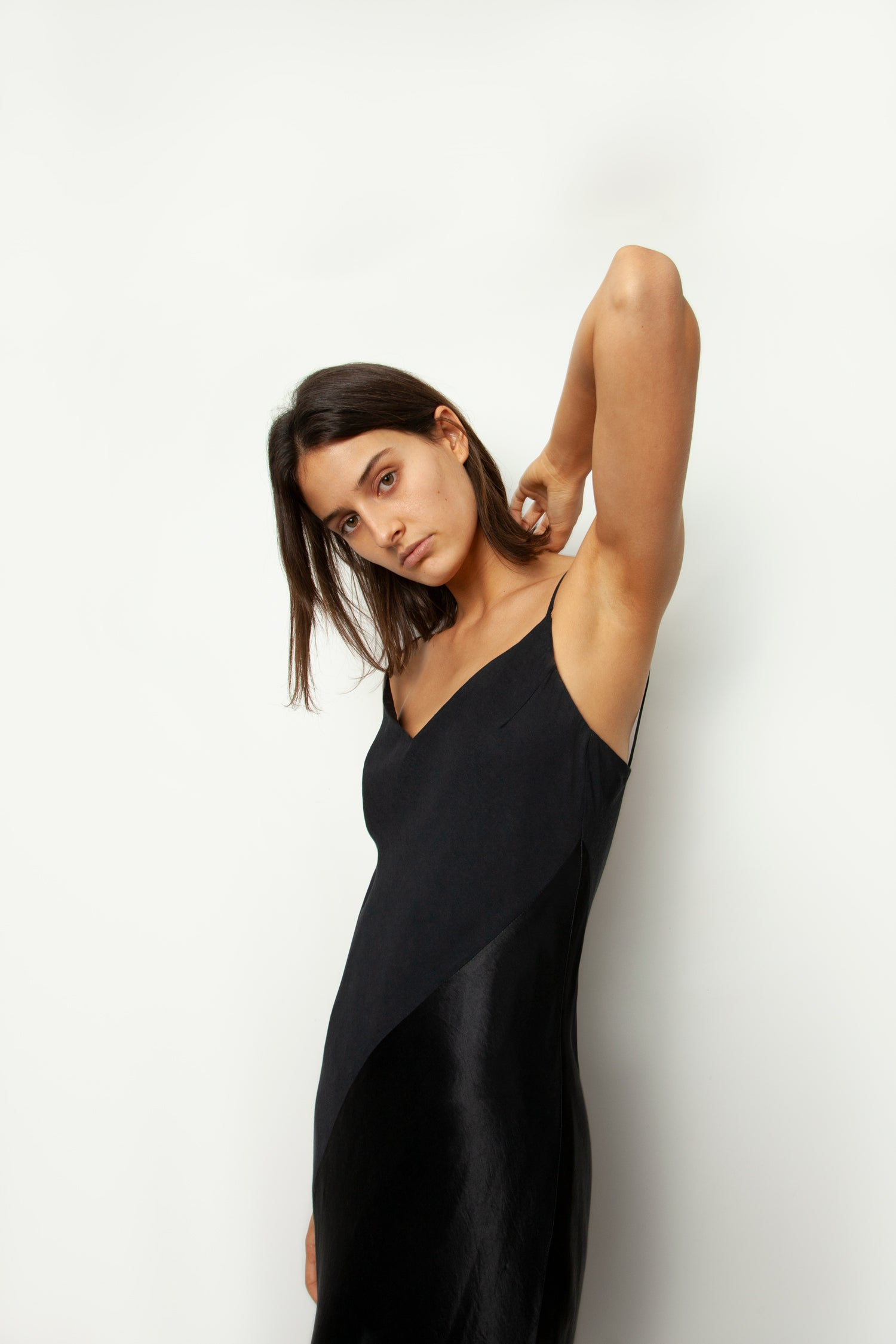 SATIN PANELLED BIAS DRESS