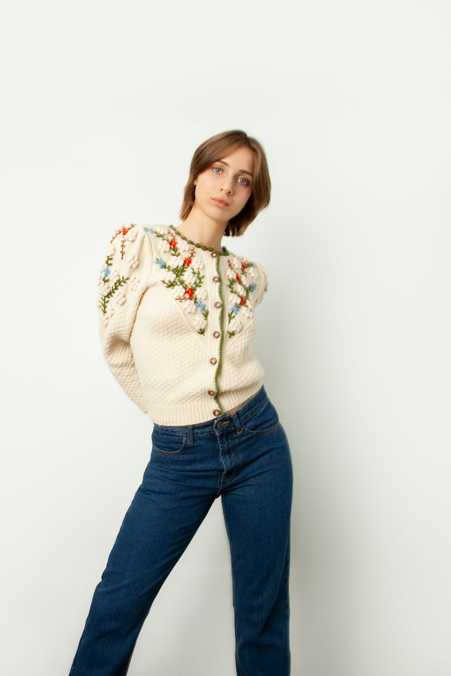 1950s HAND EMBROIDERED CARDIGAN