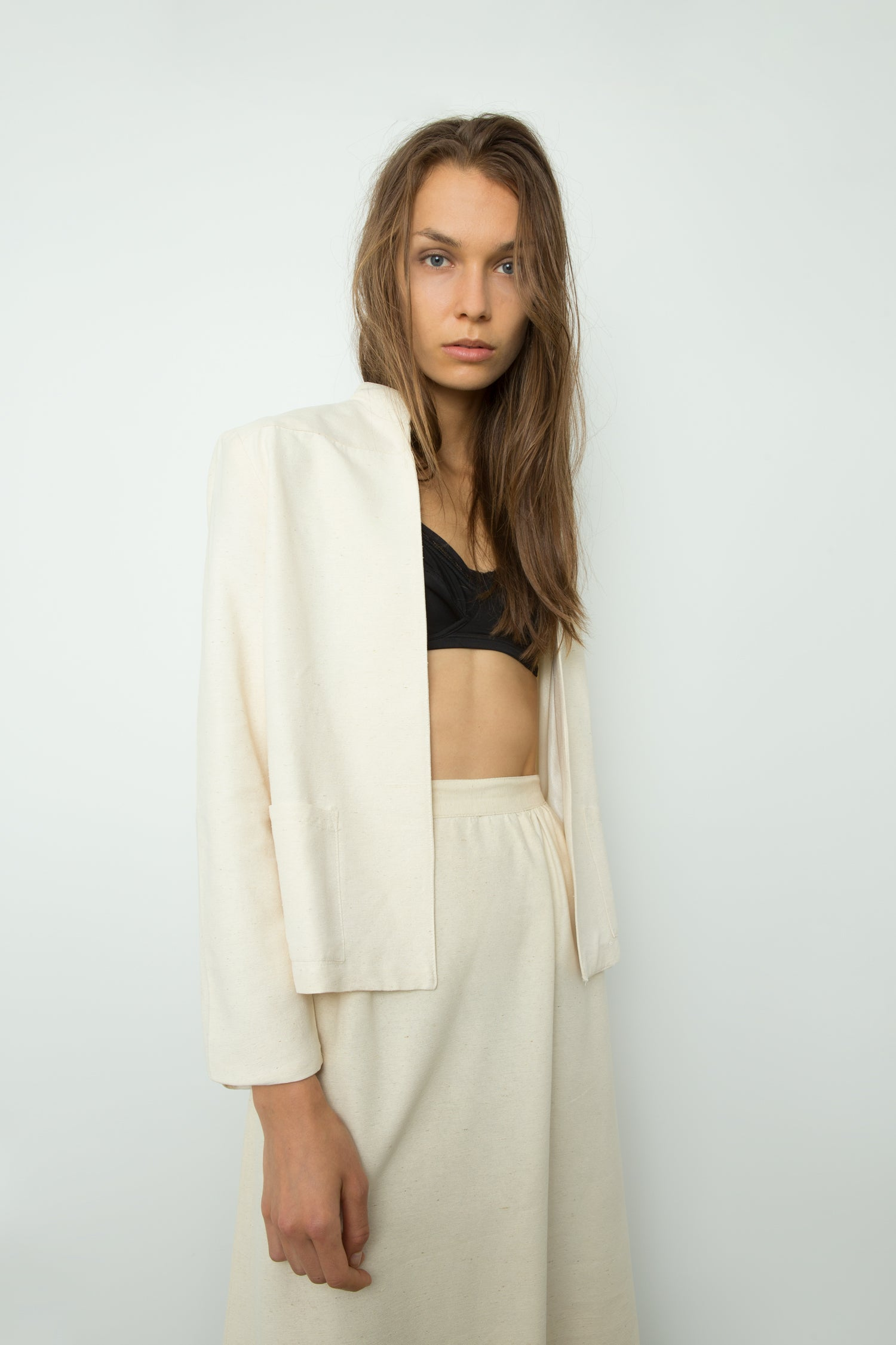 RAW SILK SKIRT SUIT