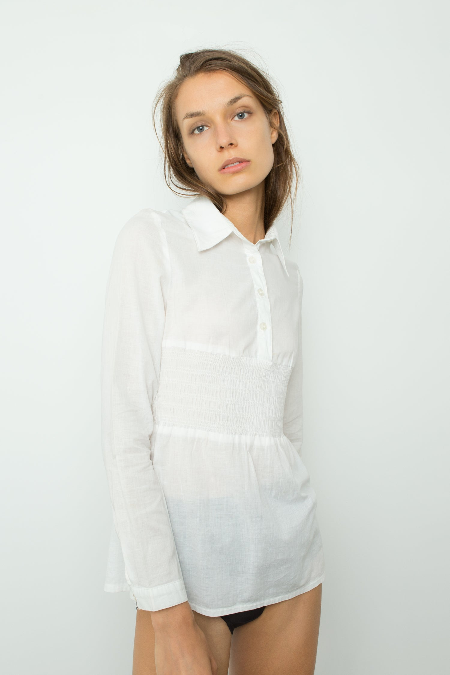 COTTON SHIRT WITH SHIRRED DETAIL