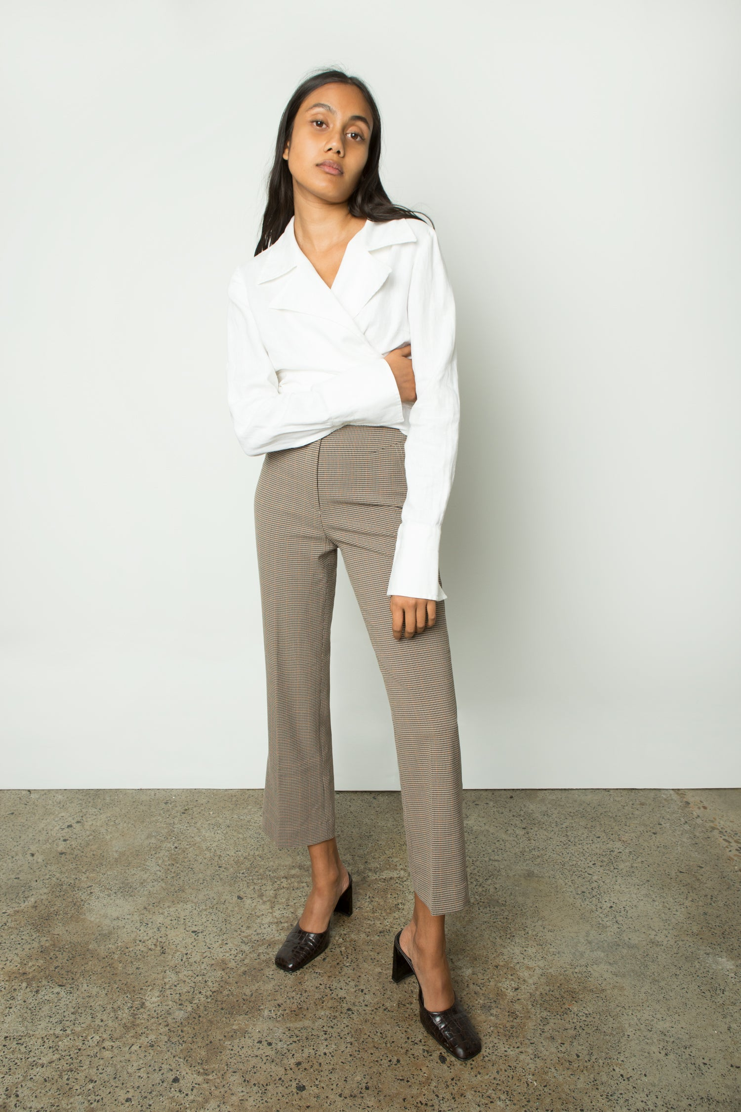 CROPPED CHECK TROUSER