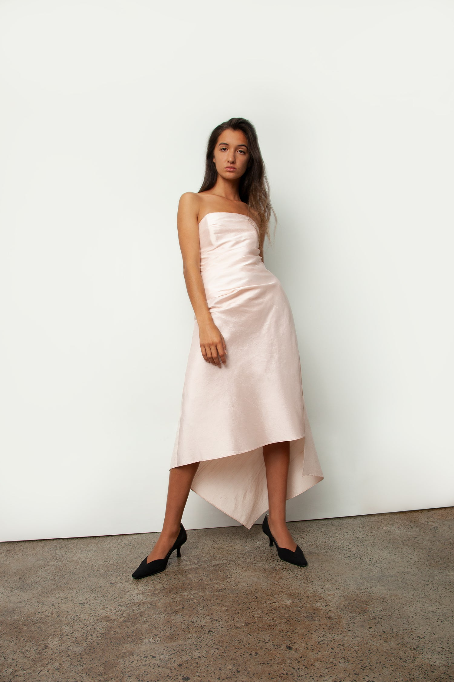 STRAPLESS SILK DRESS