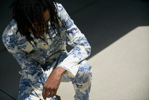 Churchill Siren Suit in White & Blue Toile