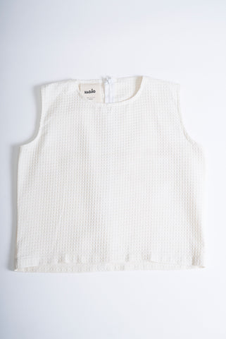 Waffle Cotton Crop Top White