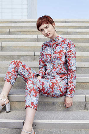 Churchill Siren Suit in Red & Blue Toile