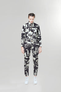 Churchill Siren Suit in Black & White Toile