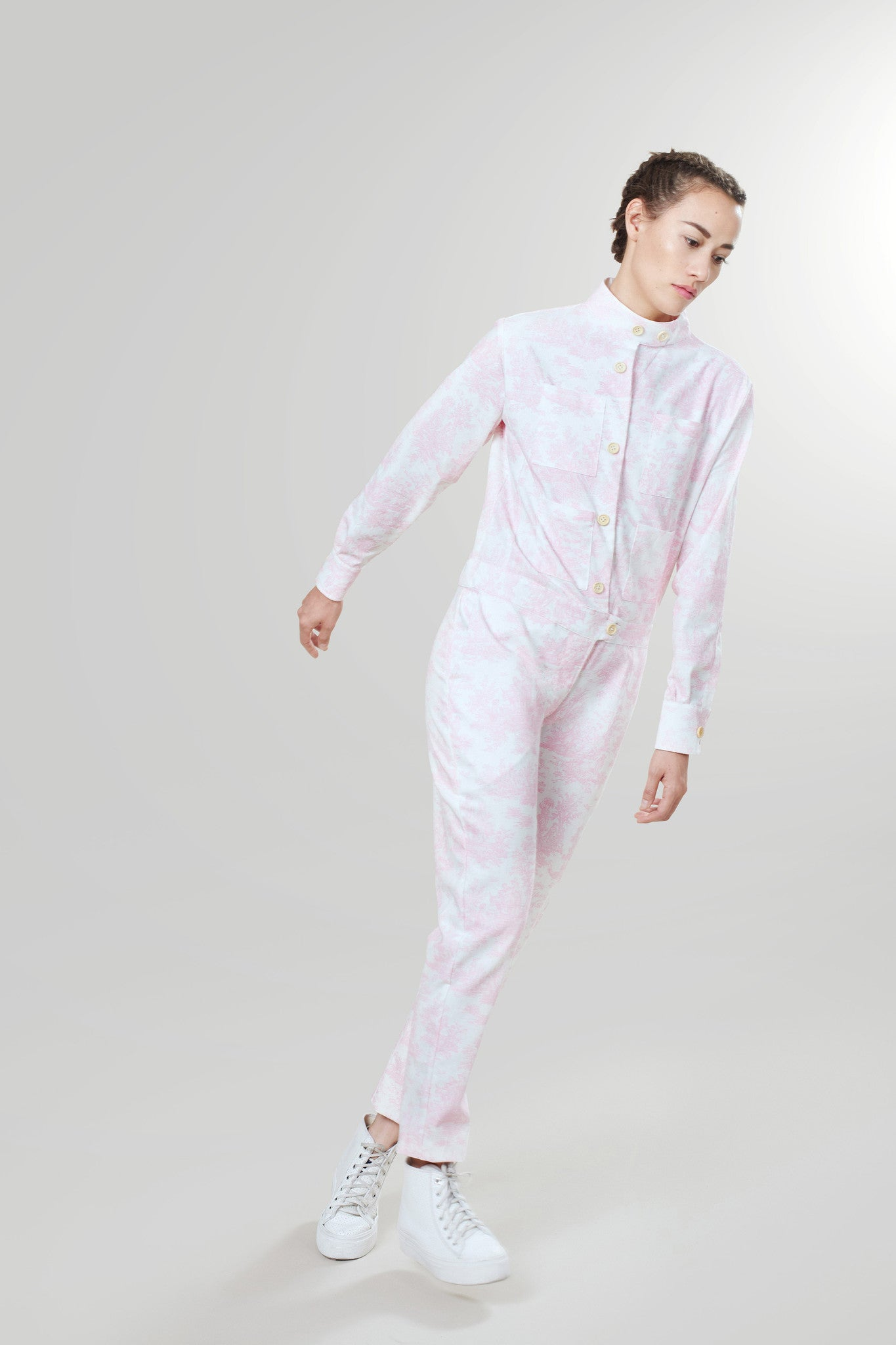 Churchill Siren Suit in Misty Pink & White Toile