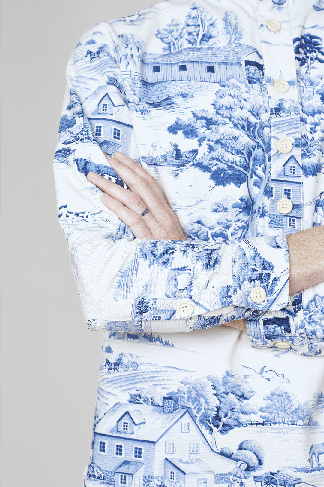 Emperor Shirt - White & Blue Toile