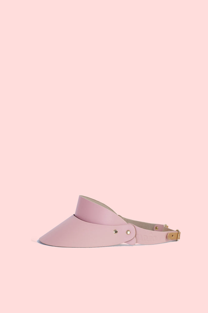 Leather Visor in Misty Pink