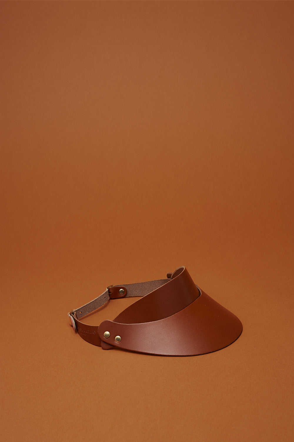 Leather Visor in Sienna Brown