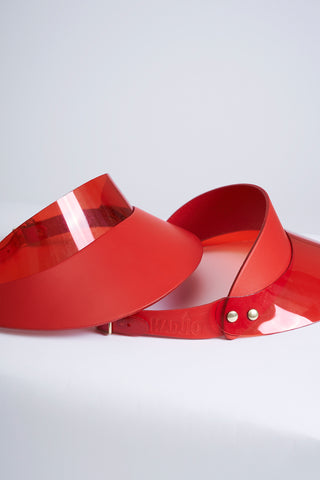Leather Visor in China Red