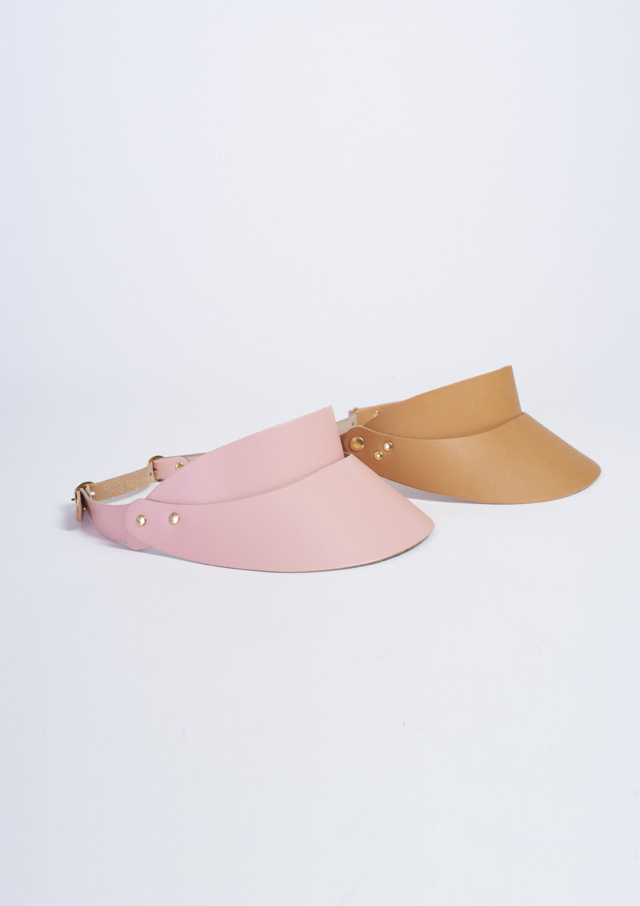 Hadjio leather visor camel and pink