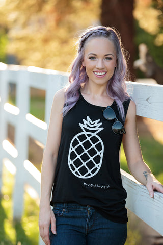 Pineapple Black Tank - Women's