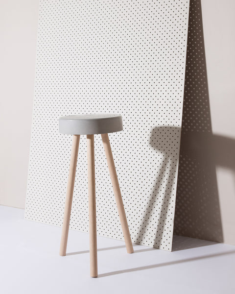 Grey concrete stool with raw hardwood legs, Concrete stool Australia