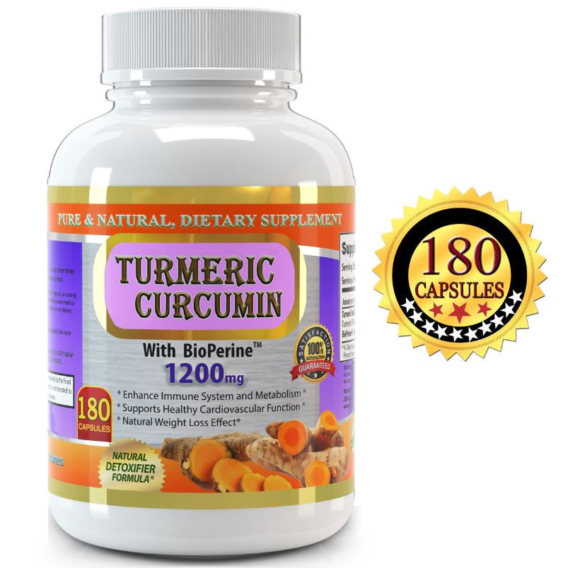 Pure Turmeric Curcumin Extract 1200mg per Serving - 180 Vegetable Capsules  - Great Value Size, All Natural High Potency Turmeric Curcumin extract with