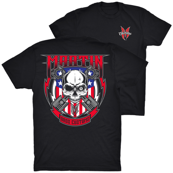 MEN'S RED, WHITE AND BLUE SKULL AND PISTONS