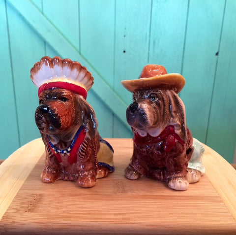 Cowboy and Indian Puppy Salt and Pepper Shakers