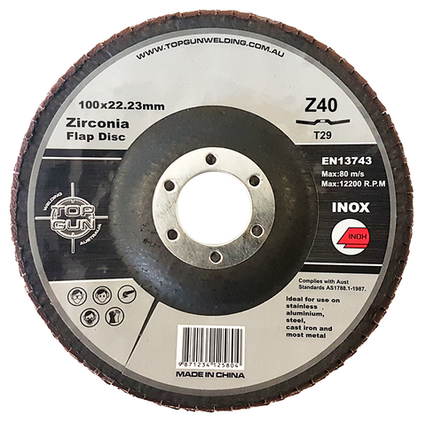 "Top Gun Zirconia Flap Disc 4"" 40 Grit"