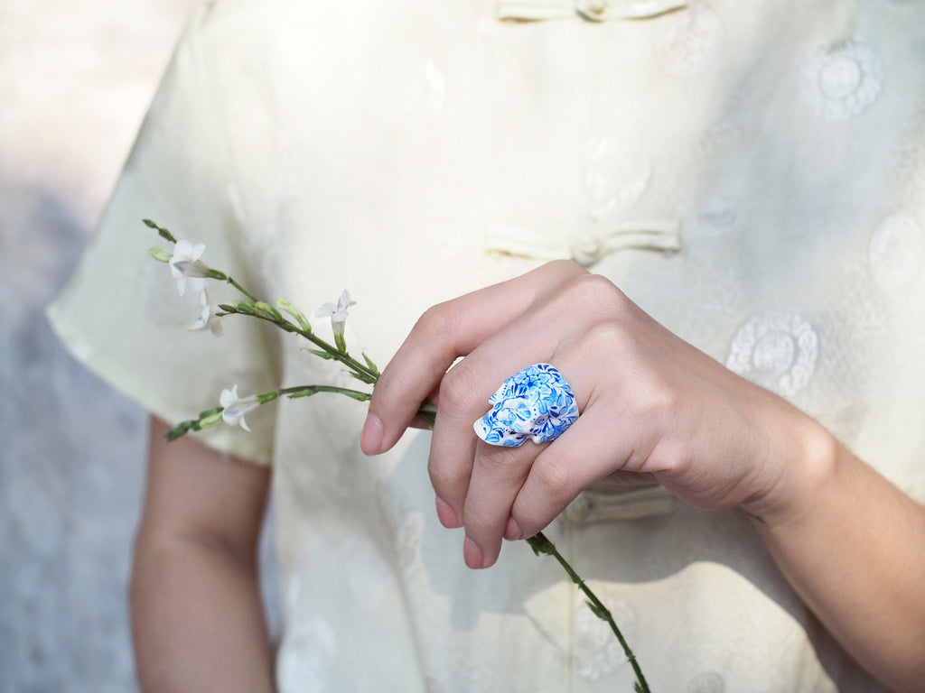 COLLECTION | Blue Floral Skull Ring - Limited