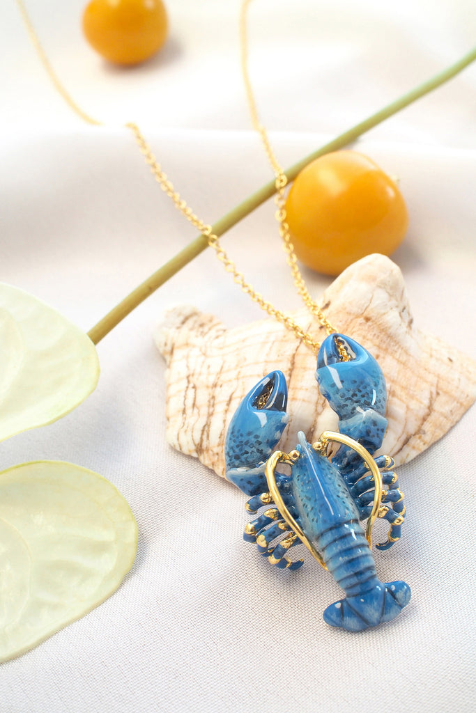 Blue Lobster Necklace