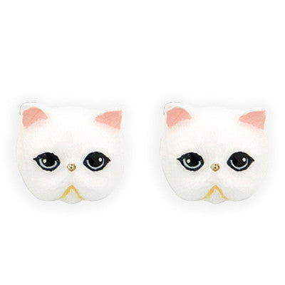 Jumpee White Persian Cat Earrings | CATS