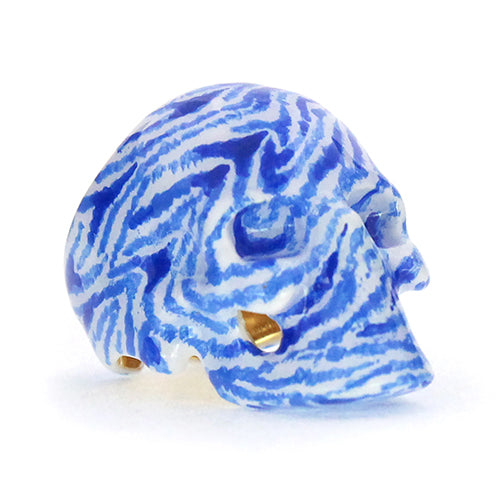 Blue&White Zebra Skull Ring