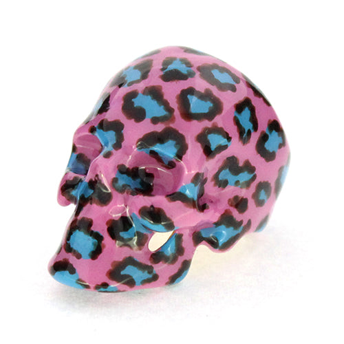Pop-Pink Leopard Skull Ring