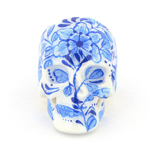 Blue and White Skull Ring