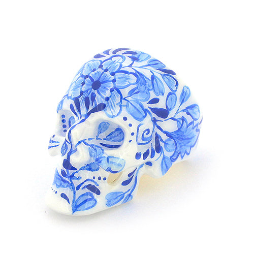 Blue and White Skull Ring | LIMITED