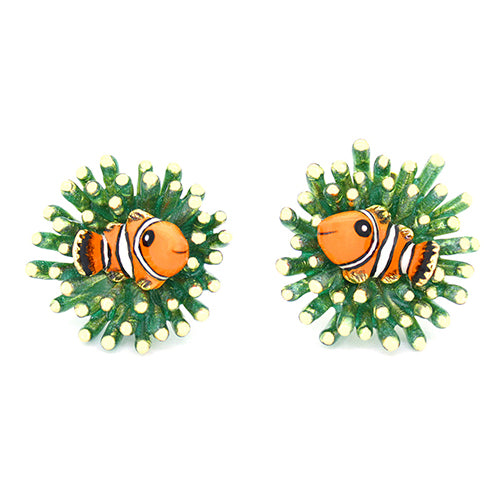 Clownfish and Sea Anemone Earrings