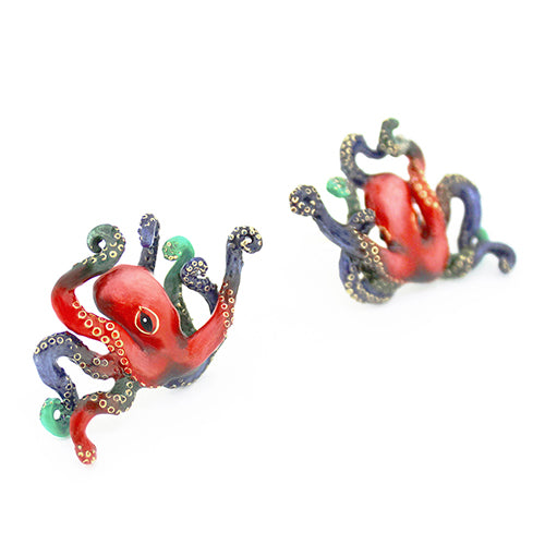 Red Octopus Earrings | Ocean Instruments