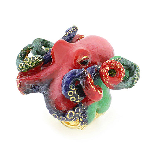 Red Octopus Ring