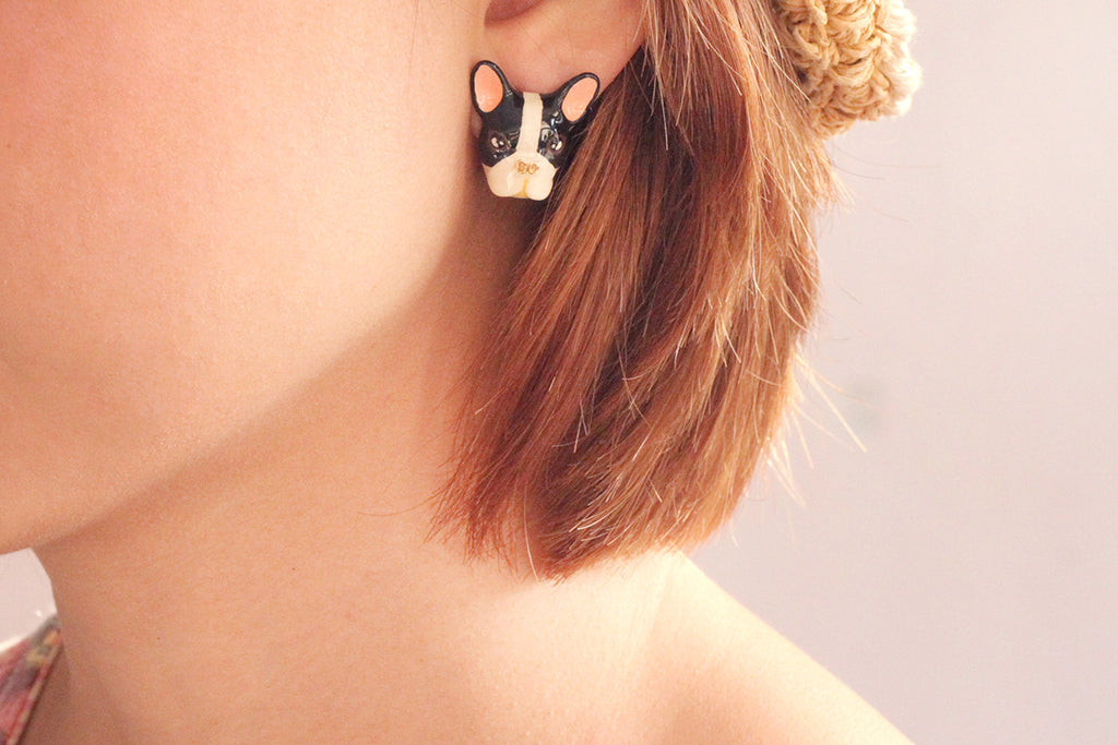 French Bulldog Earrings B&W