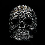 Filigree Skull Black Ring