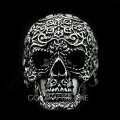 Filigree Skull Silver Ring