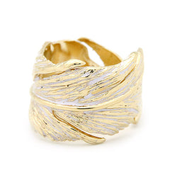 Feather Ring Gold-White | FEATHER