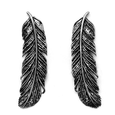 Feather Earrings Black  | FEATHER